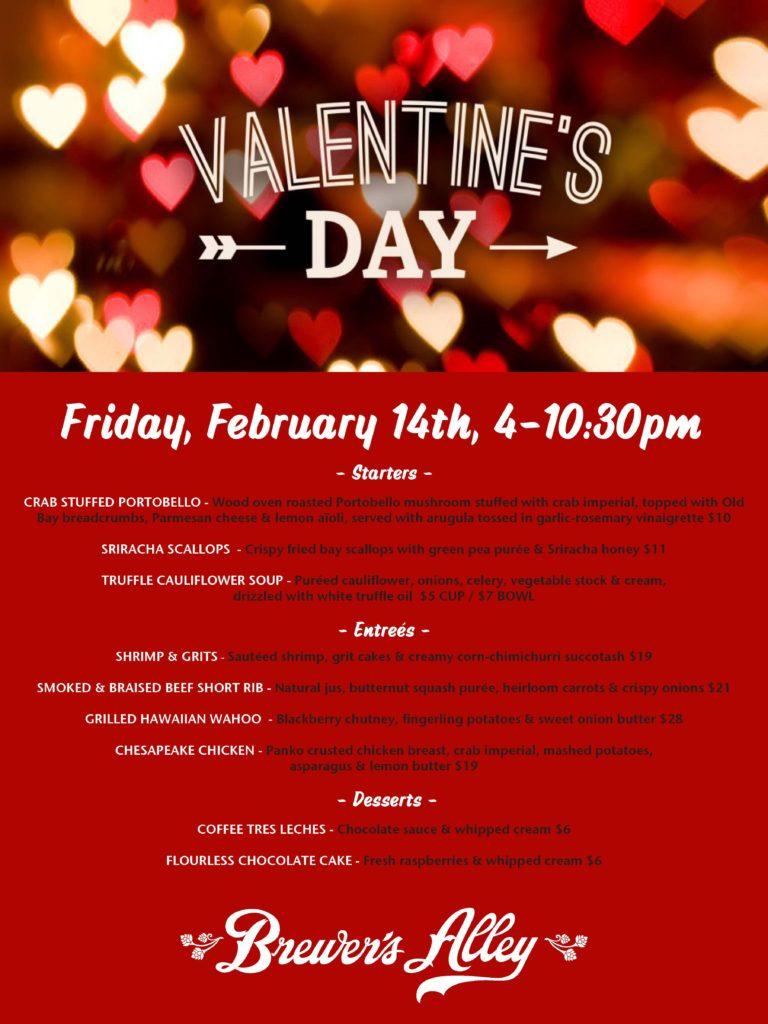 2/14 Valentines Day Dinner Specials